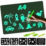 Nene Toys – Pizarra Mágica de Luz – Tamaño A4 – Tablero Luminoso para Dibujar en la Oscuridad – Juguete Infantil Educativo para Niños de 3 a 12 años - Incluye 2 Bolígrafos Mágicos + 5 Plantillas