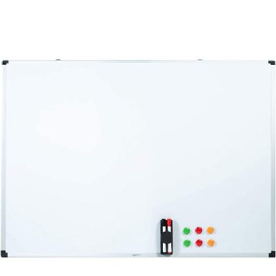 AmazonBasics - Pizarra Blanca Magnética Con Bandeja Para Rotuladores y Marco de Aluminio